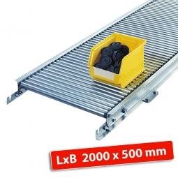 Klein-Rollenbahn, LxB 2000 x 540 mm, Bahnbreite: 500 mm, Achsabstand: 50 mm, Tragrollen Ø 20x1,0 mm
