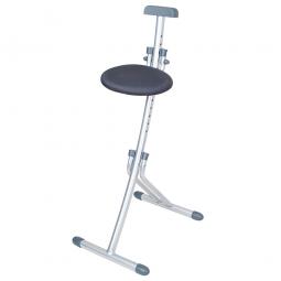 Stehhilfe, klappbar, Stahlrohr-Gestell silber, Stoffbezug grau, Sitzhöhe verstellbar in 13 Stufe von 450-850 mm