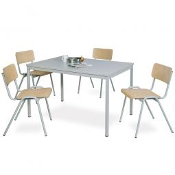 Mehrzweck-Sitzgruppe, 4 Stahlrohr-Stühle + 1 Kantinentisch, LxBxH 1600 x 800 x 750 mm, lichtgrau