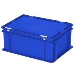 Eurobehälter mit Scharnierdeckel, LxBxH 400 x 300 x 180 mm, 16 Liter, blau