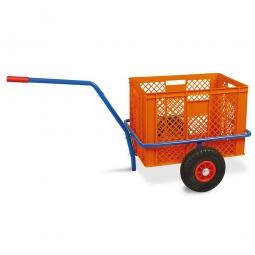 Handwagen mit Kunststoffkorb, H 410 mm, orange, LxBxH 1250 x 640 x 660 mm, Tragkraft 200 kg
