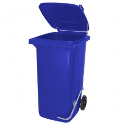 Müllbehälter 240 Liter, blau, mit Fußpedal, BxTxH 580x730x1075 mm, Niederdruck-Polyethylen (PE-HD)