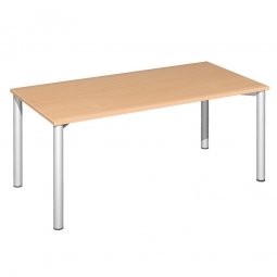 Schreibtisch Komfort, Gestell silber, Dekor Buche, BxTxH 1800x800x720 mm