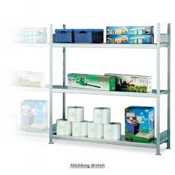 Weitspannregal mit 4 Stahlbodenebenen, Stecksystem, glanzverzinkt, BxTxH 2060 x 435 x 2500 mm