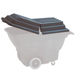 Deckel für Transport- und Schüttwagen aus PE, schwarz, 2-teilig