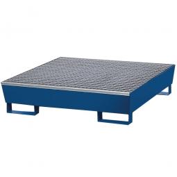 Auffangwanne aus Stahlblech, blau, für 4x 200 Liter-Fässer mit Gitterrost