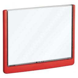 Türschild aus ABS-Kunststoff mit aufklappbarem Sichtfenster, BxH 210 x 148,5 mm, rot