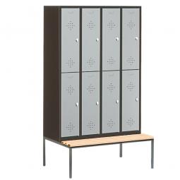 Stahl-Fächerschrank mit untergebaute Sitzbank und Drehriegelverschluss, 8 Fächer, HxBxT 2090 x 1190 x 500/815 mm