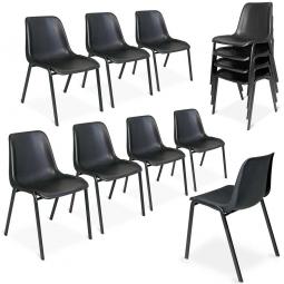12x Formschalenstühle-Set, Oval-Stahlrohr-Gestell  15 x 30 mm, schwarz