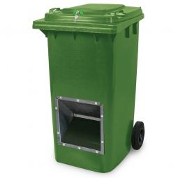 Streugutbehälter mit Entnahmeöffnung und Schließung, grün, 240 Liter, BxTxH 580 x 730 x 1075 mm