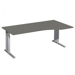 Schreibtisch PREMIUM höhenverstellbar, rechts, Graphit/Silber, BxTxH 1800x800/1000x680-820 mm