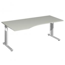 PC-Schreibtisch ELEGANCE links, feste Höhe, Dekor Lichtgrau, Gestell Silber, BxTxH 1800x800/1000x720 mm