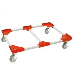"Transportroller ""Vario"" für Eurobehälter 800 x 600 mm, grau-rot, 4 Lenkrollen, graue Gummiräder"