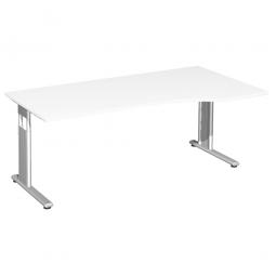 PC-Schreibtisch ELEGANCE rechts, feste Höhe, Dekor Weiß, Gestell Silber, BxTxH 1800x800/1000x720 mm