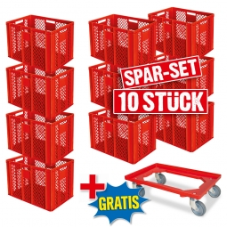 10x Euro-Stapelbehälter + 1 Transportroller GRATIS, Farbe rot, LxBxH 600x400x410 mm