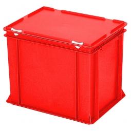 Eurobehälter mit Scharnierdeckel, LxBxH 400 x 300 x 330 mm, 31 Liter, rot