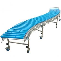 Scheren Rollenbahnen mit Tragrollen aus Kunststoff, LxB 4000/9600x300 mm, Ø 50x2,8 mm, Farbe blau