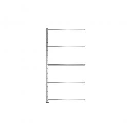 Fachboden-Anbauregal Economy mit 5 Böden, Stecksystem, BxTxH 1006 x 635 x 2000 mm, Tragkraft 250 kg/Boden, glanzverzinkt