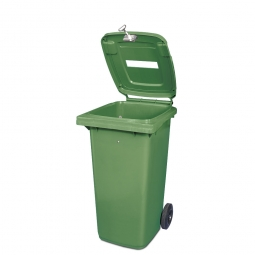 Müllbehälter mit Papiereinwurf, verschließbar, 120 Liter, grün