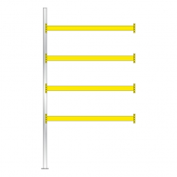 Paletten-Anbauregal für 15 Europaletten, Tragbalkenebenen mit 38 mm Spanplattenböden, Fachlast 1800 kg/Tragbalkenpaar, BxTxH 2785 x 1100 x 5000 mm