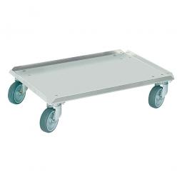 Alu-Transportroller für Eurobehälter 600 x 400 mm, graue Gummiräder, Deck geschlossen, Tragkraft 250 kg