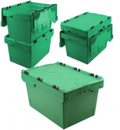 5x Universal Klappdeckelboxen, verplompbar, LxBxH 600 x 400 x 350 mm, 58 Liter, grün