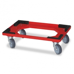 Transportroller für 600 x 400 mm Drehstapelbehälter, offenes Deck, 4 Lenkrollen, graue Gummiräder, rot