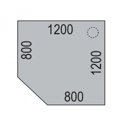 Verkettungsplatte mit Stützfuß, Lichtgrau, BxT 1200x1200 mm