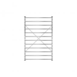 Fächerregal Flex, Stecksystem, glanzverzinkt, BxTxH 1270 x 415 x 2000 mm