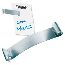 Beleghalter/Zettelklammer aus Edelstahl, LxB 86x20 mm, zum Aufstecken auf Behälterrippen