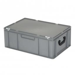 Euro-Koffer, LxBxH 600x400x230 mm, grau, mit 2 Tragegriffen auf den Stirnseiten