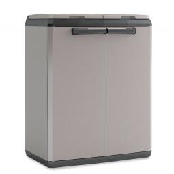 Recyclingschrank für 2x 110-Liter-Müllsäcke, aus Kunststoff, Farbe grau/schwarz, BxTxH 680 x 390 x 850 mm