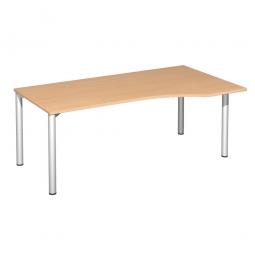 PC-Tisch, rechts Komfort, Gestell silber, Dekor Buche, BxTxH 1800x1000x720 mm
