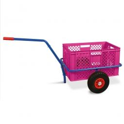 Handwagen mit Kunststoffkorb, H 320 mm, violett, LxBxH 1250 x 640 x 660 mm, Tragkraft 200 kg