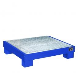 Auffangwanne für 60 Liter Fässer mit Gitterrost, BxTxH 900x800x220 mm, Volumen 65 Liter, blau RAL 5012