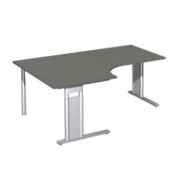 Schreibtisch PREMIUM, Tischansatz links, Graphit/Silber, BxTxH 1800x800/1200x680-820 mm