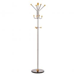 Formschöne Standgarderobe aus Metall, silber, HxØ 1850x400 mm