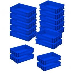 12x Euro-Stapelbehälter + 4 Behälter GRATIS, Farbe blau, LxBxH 600 x 400 x 120 mm