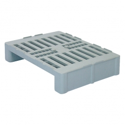 Hygienepalette H2 im halben Euromaß mit 2 Kufen und Sicherungsrand, LxBxH 800x600x160 mm, Oberdeck durchbrochen, grau
