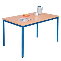 Kantinentisch, blau, BxTxH 1600x800x750mm, Gestell blau, Tischplatte 25 mm stark