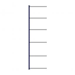Fachboden-Steck-Anbauregal, kunststoffbeschichtet, HxBxT 3000 x 835 x 315 mm, mit 6 Fachböden