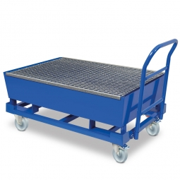 Fahrbare Auffangwanne mit 200 Liter Auffangvolumen, verzinktem Gitterrost, BxTxH 1235 x 815 x 230/580 mm
