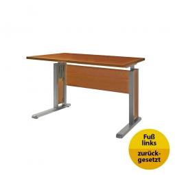 Verkettungs-Schreibtisch, Gestell silber, Platte Kirsche, BxTxH 800x800x680-820 mm