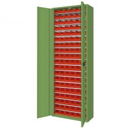 Schrank mit Sichtboxen, mit Türen, BxTxH 700x300x1980 mm, resedagrün RAL 6011