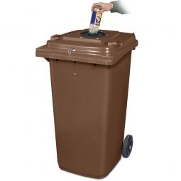 Verschließbarer Müllbehälter mit Flascheneinwurf und Gummirosette, 240 Liter, braun