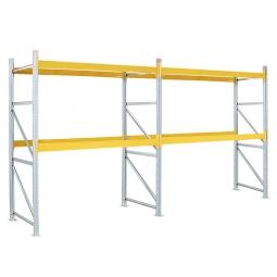 Paletten-Steck-Komplettregal, mit 4 Paar Tragbalken für 18 Europaletten, BxTxH 5710x1100x3000 mm
