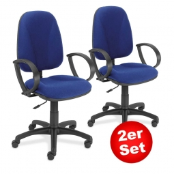 "2er-Set Bürodrehstühle ""Economy"" mit Armlehnen, Permanentkontakt-Mechanik, Polster blau"