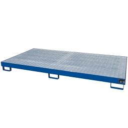 Auffangwanne aus Stahlblech, blau, für 8x 200 Liter-Fässer mit Gitterrost feuerverzinkt