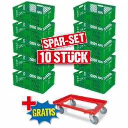 10x Euro-Stapelbehälter + 1 Transportroller GRATIS, Farbe grün, LxBxH 600 x 400 x 240 mm