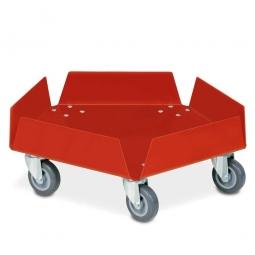 Aluminium-Tonnenroller, kunststoffbeschichtet rot, mit verzinkten Lenkrollen und 5 Rädern Ø 75 mm mit grauer Polyurethanlauffläche